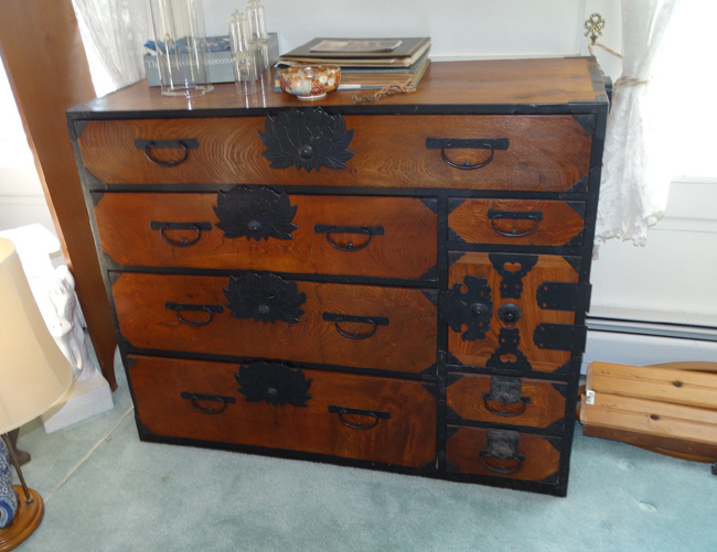 ... Oriental Cabinets; Small Oriental Tables; Mahogany Slant Front Desk;  3 Door Stacking Bookcase; Japanese Fire Pit; 2 Flip Top Card Tables; Oak  Bookcase; ...