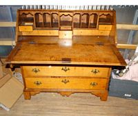 period tiger maple slant front desk